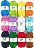 ميرا هاندكرافتس أكريليك 1. 76 أونصة (50 جم) لكل خيوط كبيرة - 12 خيط متعدد الألوان وخيوط كروشيه - مجموعة للمبتدئين…