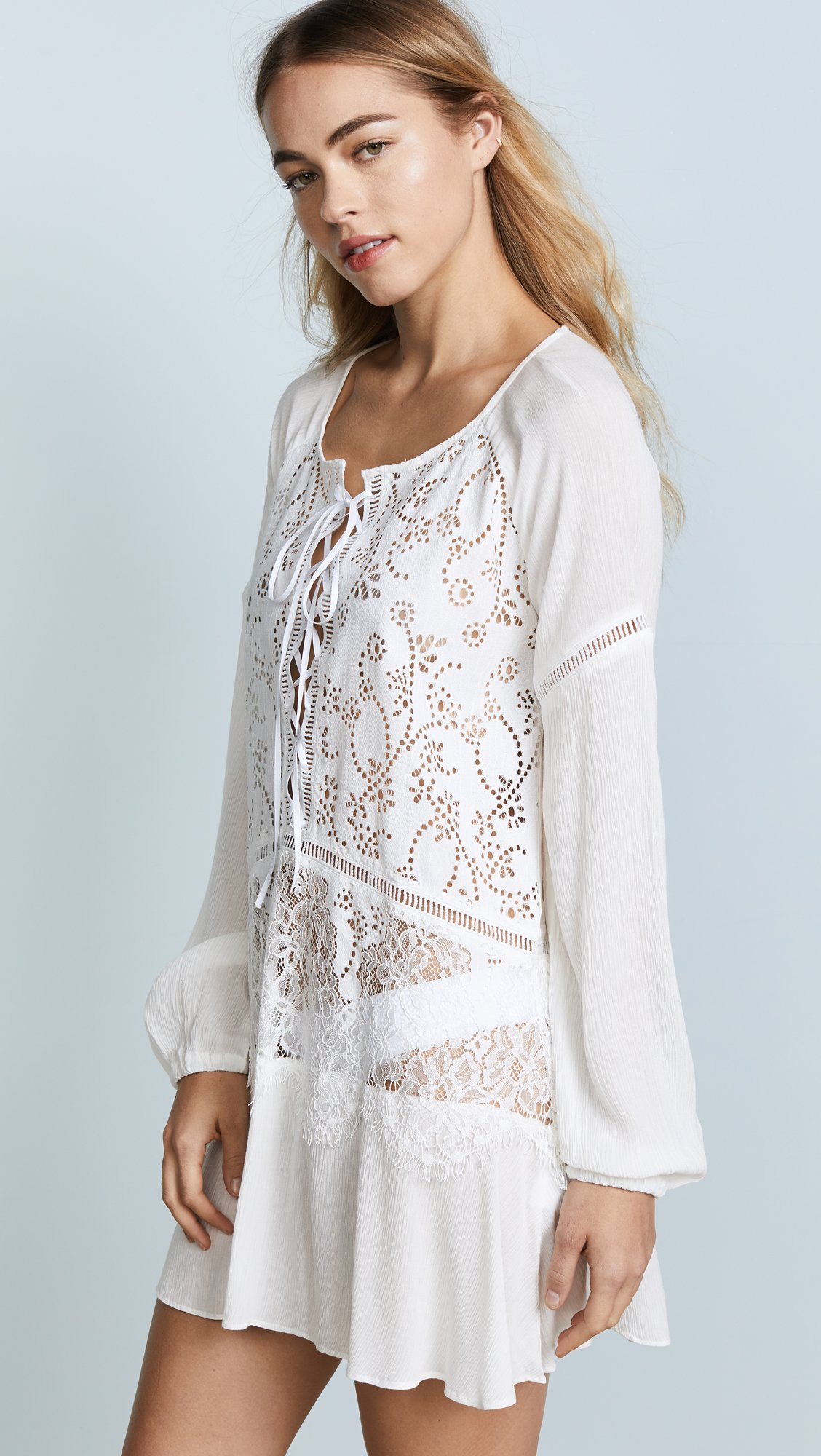For Love & Lemons Women's Olympia Lace Cover Up Tunic, White, Small by For Love & Lemons (Image #4)
