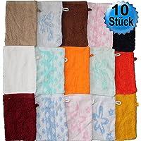 10 pcs manopla de toallas, varios colores, 15 x 21 cm aproximadamente, el baño, tejido de rizo, 100% algodón (varios colores)