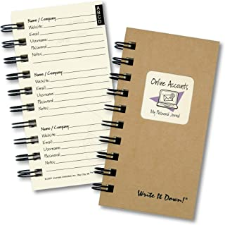 "product image for Journals Unlimited ""Write it Down!"" Series Guided Journal, Online Accounts, My Password Journal, with a Kraft Hard Cover, Made of Recycled Materials, 3.5""x8.5"""