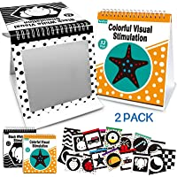 teytoy 2 Packs Tummy Time Mirror with Baby Black and White Book Boys Girls, High Contrast Flash Card Brain Development…