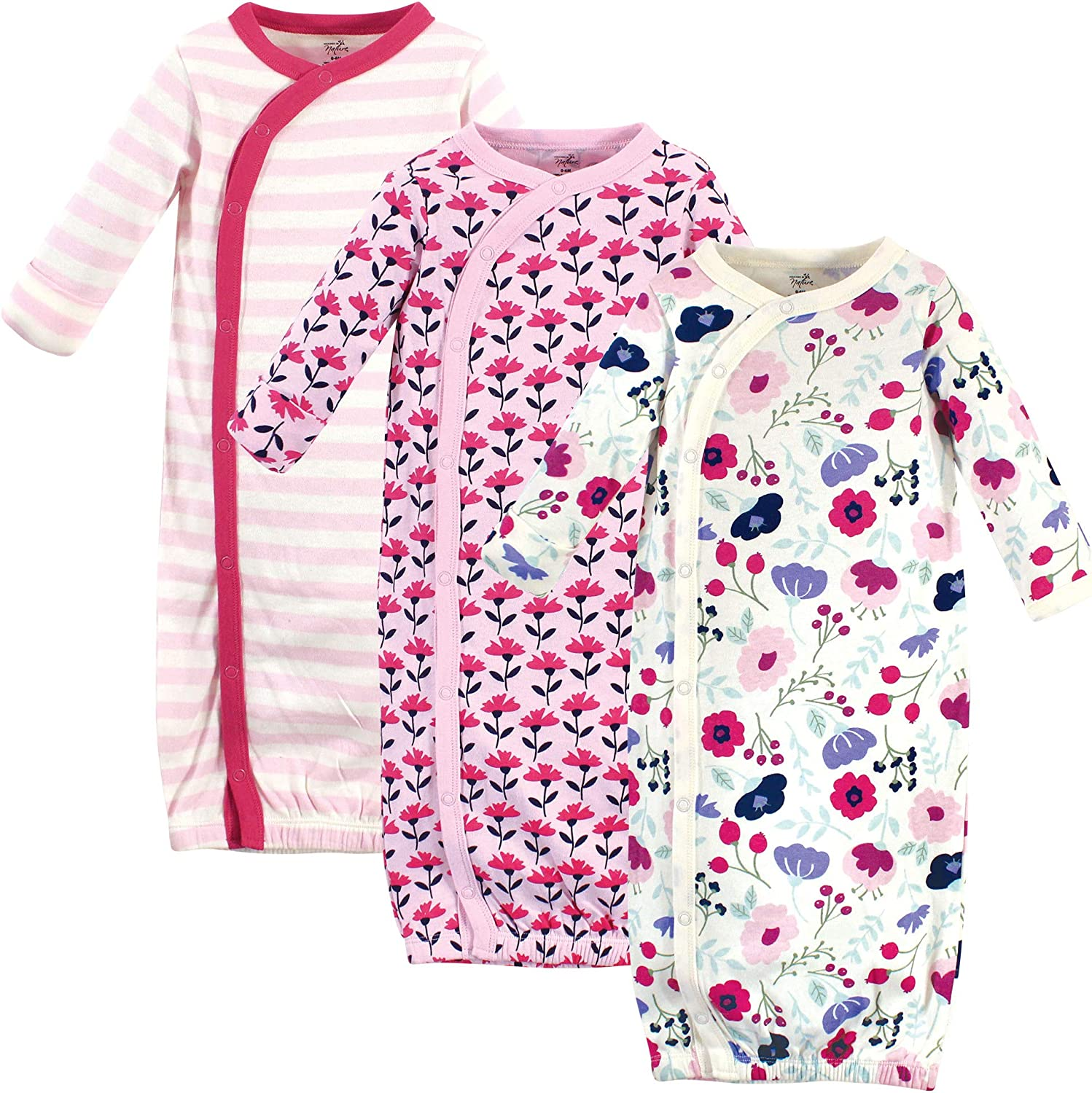 Pink Botanical Touched by Nature Baby Organic Cotton Kimono Gowns 3pk