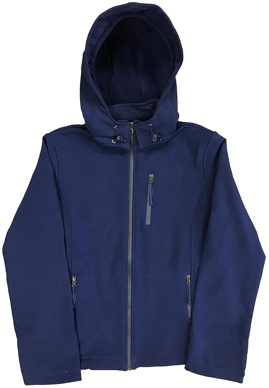 Womens Warm Fleece Lined Softshell Water-Resistant Windproof Jacket with Detatchable Hood