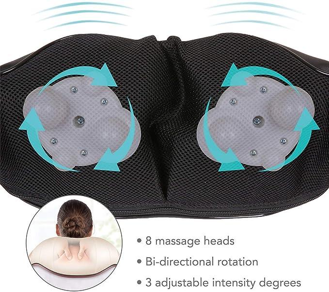 Masajeador Cervical Shiatsu Masaje con Calor de Espalda Cuello Hombro para Relajarse y Alivio del los Dolores de los Músculos