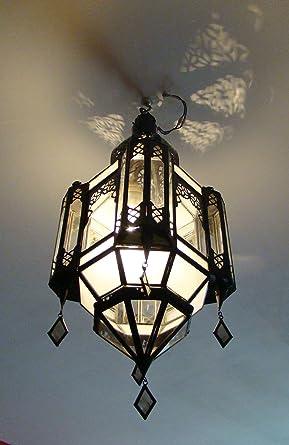 Lustre Lanterne Plafonnier H 57cm Fer Forge Verre Applique