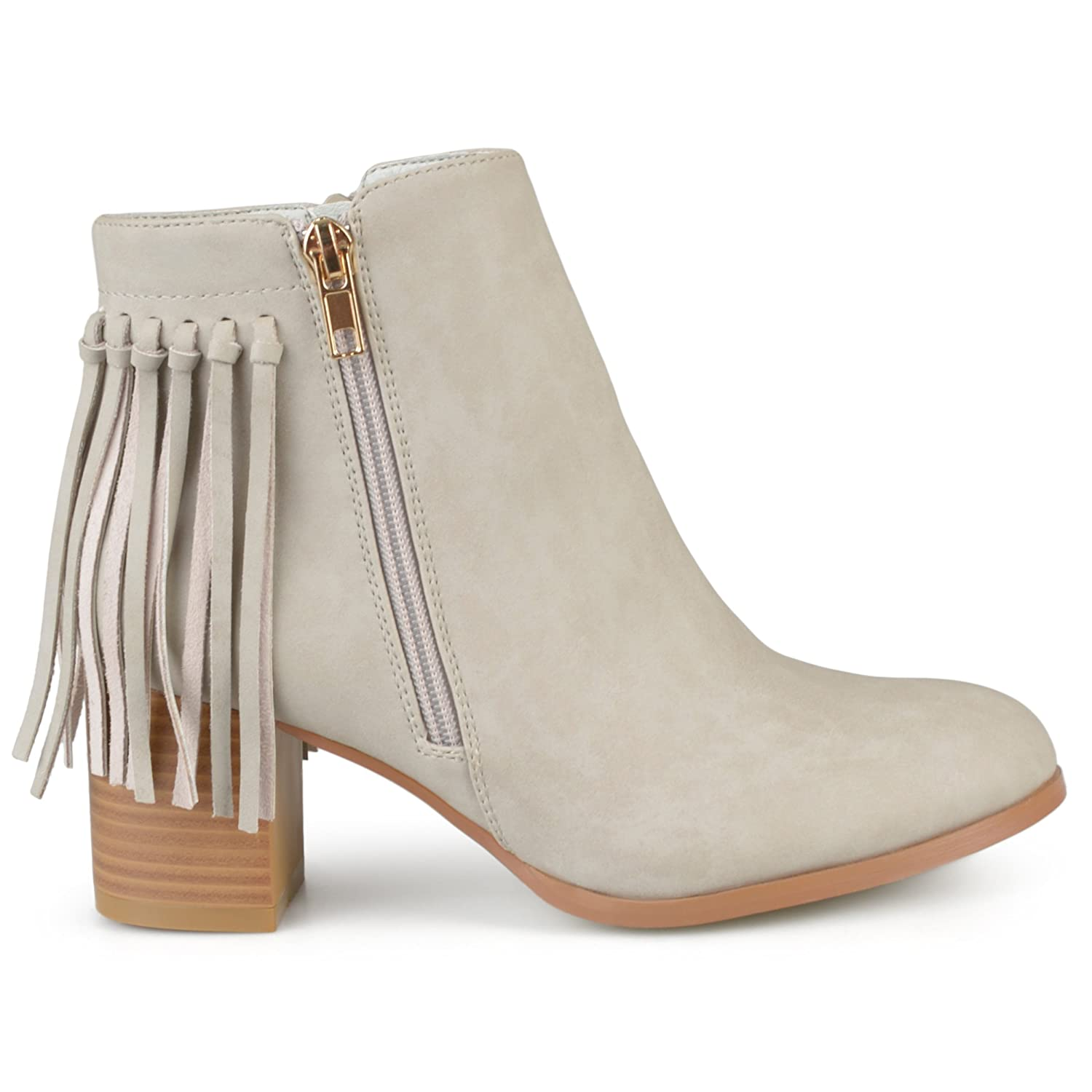 7879c3e7e65 70%OFF Brinley Co. Womens Faux Leather Stacked Heel Fringe Ankle ...