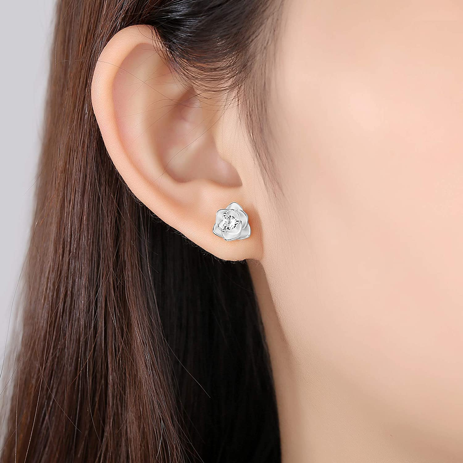 White Gold /& Yellow Gold Plated Rose Flower Ear Studs Hypoallergenic Earrings for Women