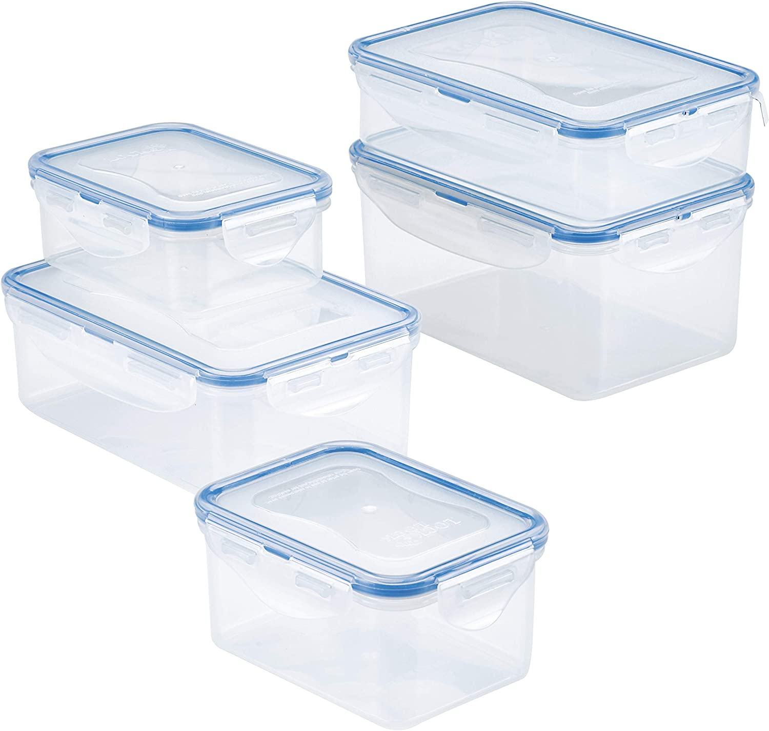 LOCK & LOCK Easy Essentials Food Storage lids/Airtight containers, BPA Free, 10 Piece, Clear