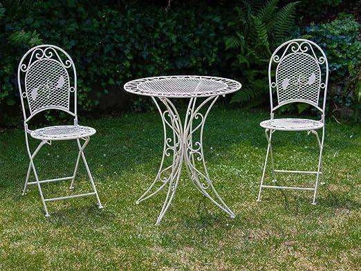 Table table de jardin table de bistrot 79cm fer de jardin ancien-style blanc crème