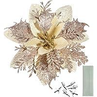 NUOBESTY 12 peças de flores de poinsétia com glitter de Natal, enfeites de árvore de Natal, flores de poinsétia…