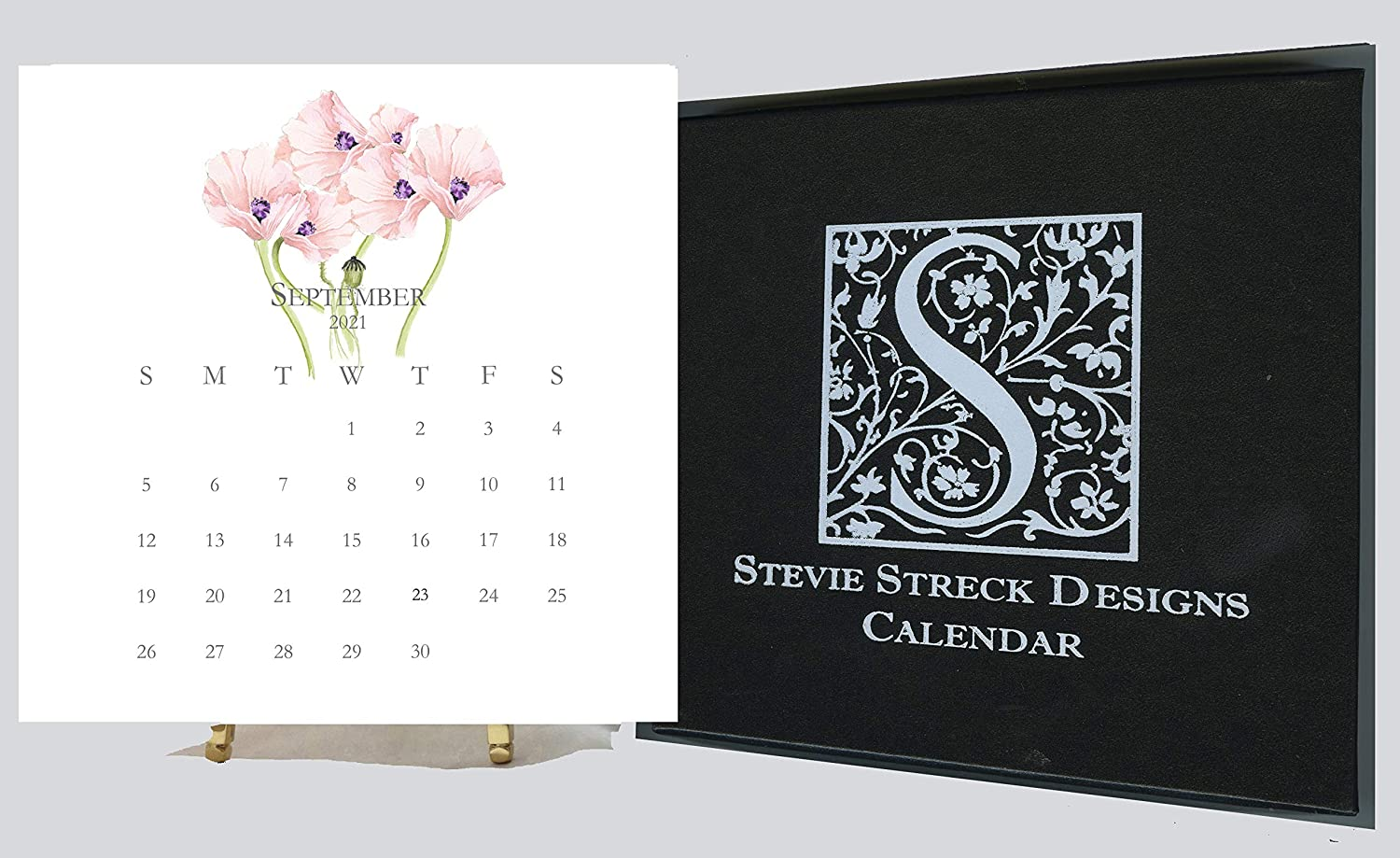 2021 Desk Calendar Refill - Small Mini Desktop Calendar - 6 x 6 Card stock - At A Glance - Office Calendar - Hand Glittered - By Stevie Streck Designs