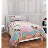 Girls, Pony, Country Horse Twin Comforter, Sheets & Sham Set (5 Piece Bed In A Bag)