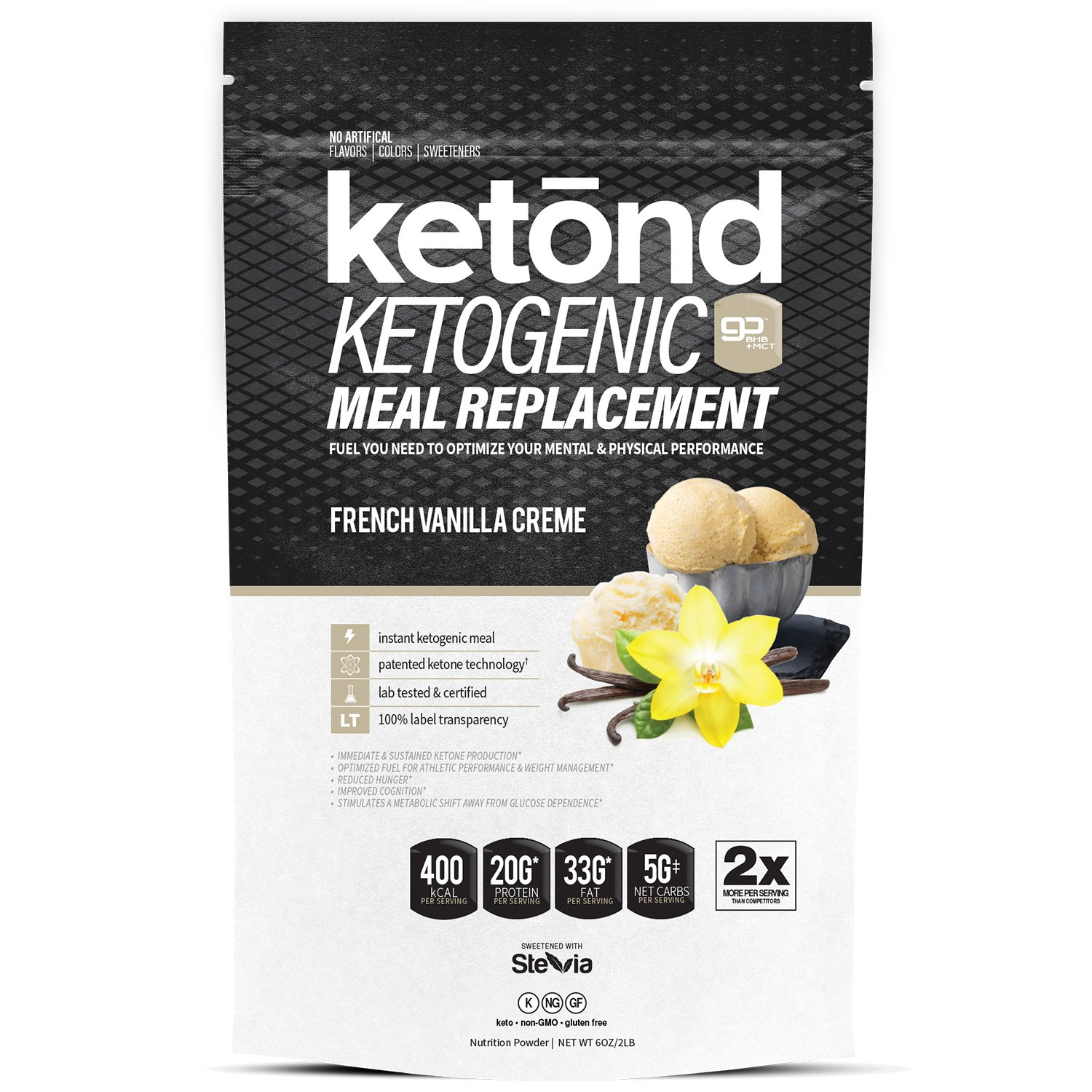 Ketond Ketogenic Meal Replacement. The Only Ketogenic Meal Replacement Shake''Supercharged'' with goBHB™ + goMCT™ The Best Keto Shake. Period. (French Vanilla Creme)
