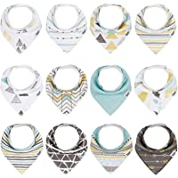 Baby Bandana Bibs for Boys,12 Pack Teething and Drooling Bibs for Baby Boys,Super Absorbent Cotton Baby Bandana Drool…