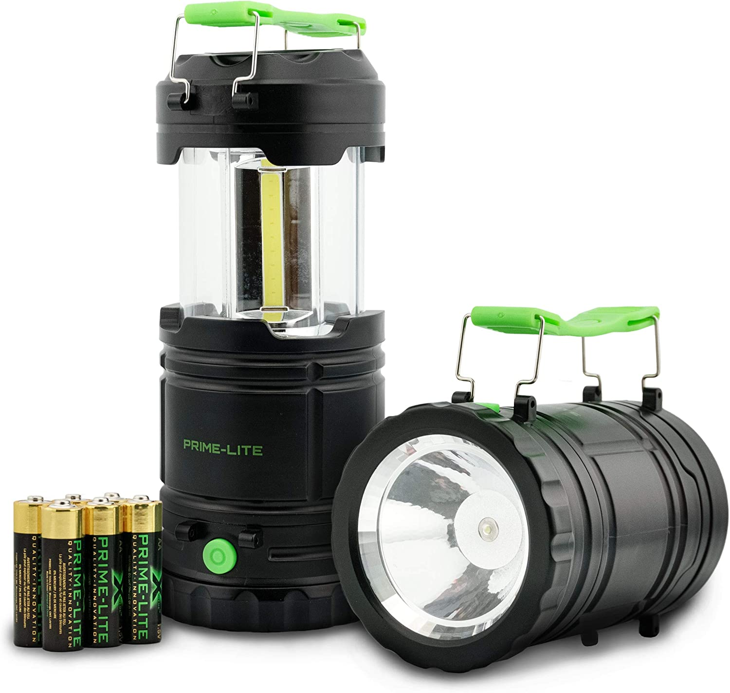 Prime-lite 2 Pack Camping Lantern with Led - Battery Operated Lights - Led Lantern - Flashlights for Emergencies - Hurricane Supplies for Home - Used for Fishing, Hiking & Camping (Batteries Incl)