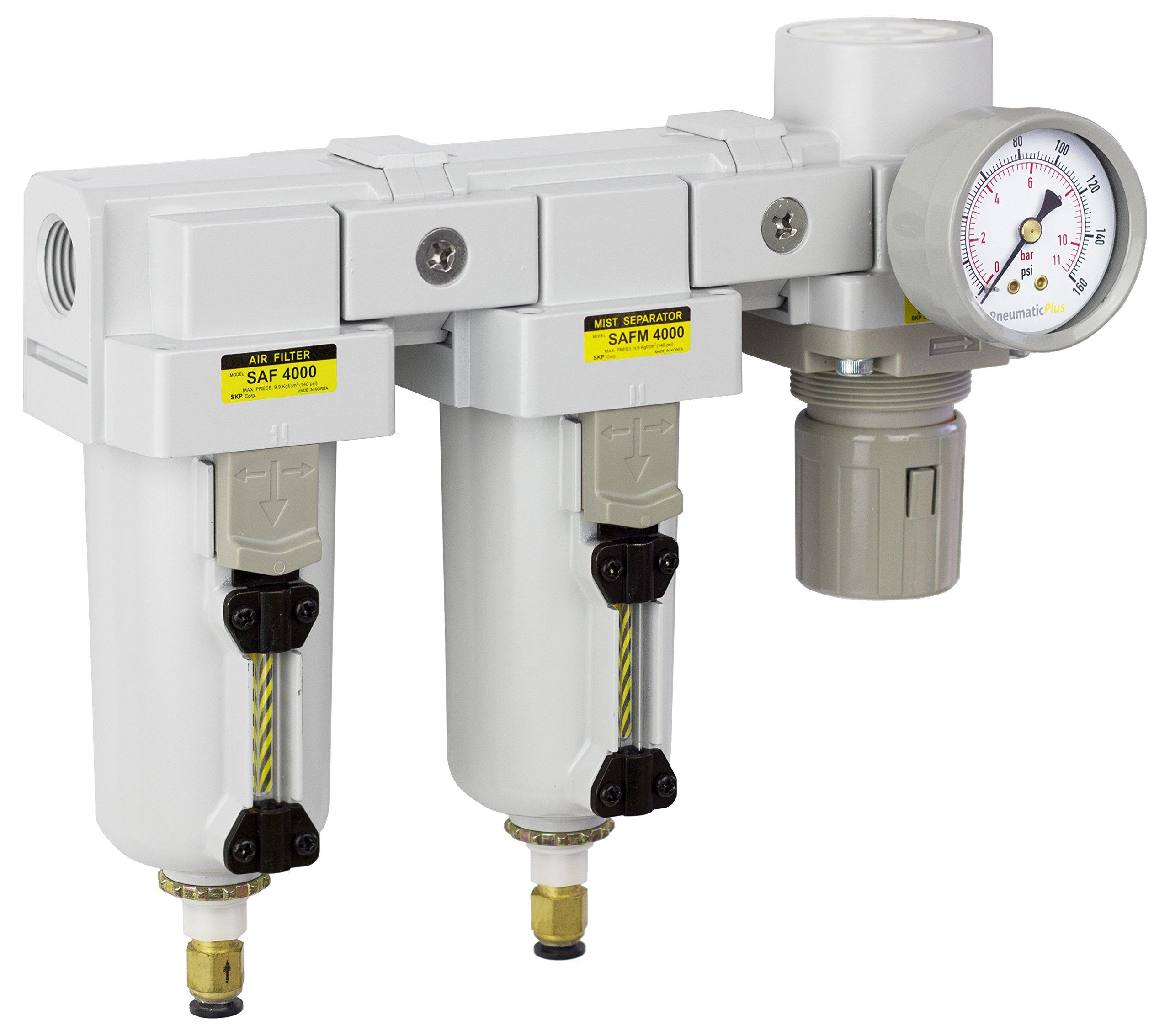 PneumaticPlus SAU4030M-N04DG-MEP Three Stage Air Drying System - Air Particulate Filter, 0.3 Micron Coalescing Filter & Air Pressure Regulator Modular Combo 1/2'' NPT - Auto Drain, Metal Bowl by PneumaticPlus