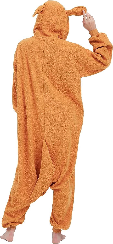 Fandecie Costume Animal Costume Animal Pyjamas Pyjamas Combinaison Kigurumi Kangourou Femme Homme Cosplay Adulte pour Carnaval Animal Carnaval Halloween