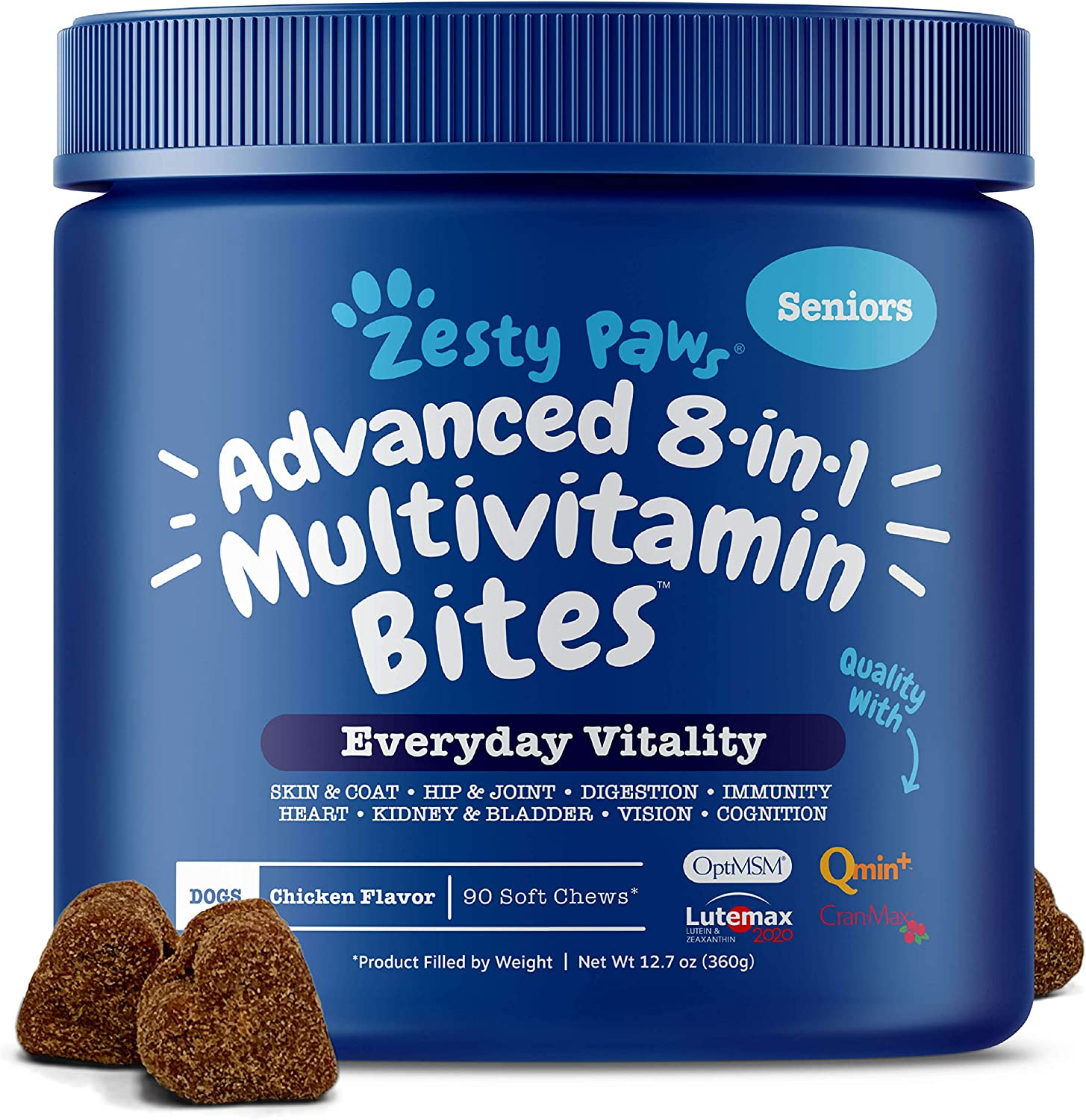 Zesty Paws Senior Advanced Multivitamin for Dogs – Glucosamine Chondroitin for Hip Joint Arthritis Relief – Dog Vitamins Fish Oil for Skin Coat – Digestive Enzymes MSM CoQ10