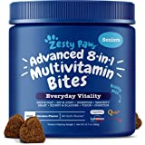 Zesty Paws Senior Advanced Multivitamin for Dogs - Glucosamine Chondroitin for Hip & Joint Arthritis Relief - Dog Vitamins & Fish Oil for Skin & Coat - Digestive Enzymes MSM + CoQ10