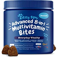 Zesty Paws Senior Advanced Multivitamin for Dogs - Glucosamine Chondroitin for Hip & Joint Arthritis Relief - Dog Vitamins & Fish Oil for Skin & Coat - Curcumin, Digestive Enzymes, MSM + CoQ10