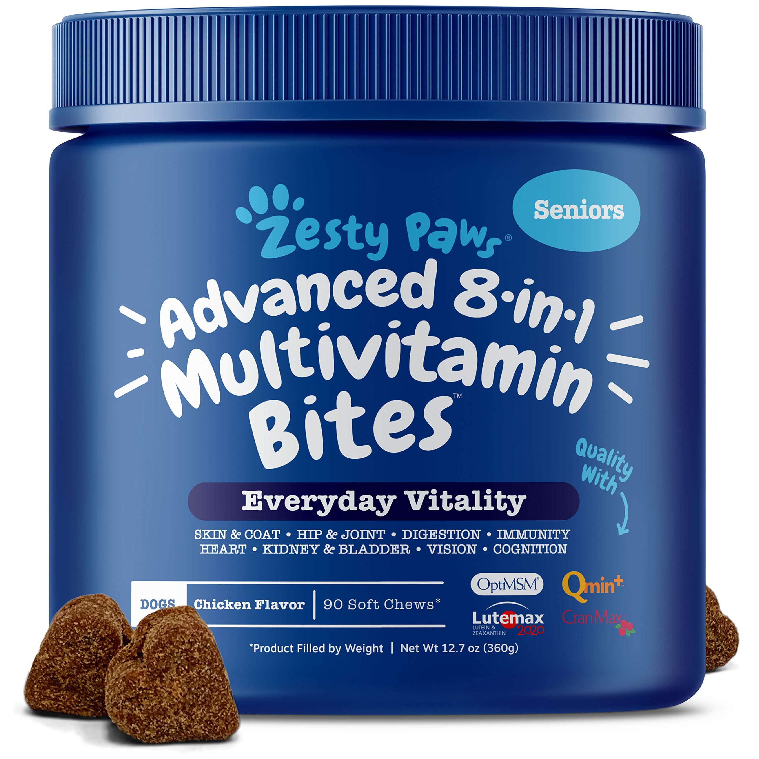 Zesty Paws Senior Advanced Multivitamin for Dogs - Glucosamine Chondroitin for Hip & Joint Arthritis Relief - Dog Vitamins & Fish Oil for Skin & Coat - Digestive Enzymes MSM + CoQ10-90 Chew Treats by Zesty Paws