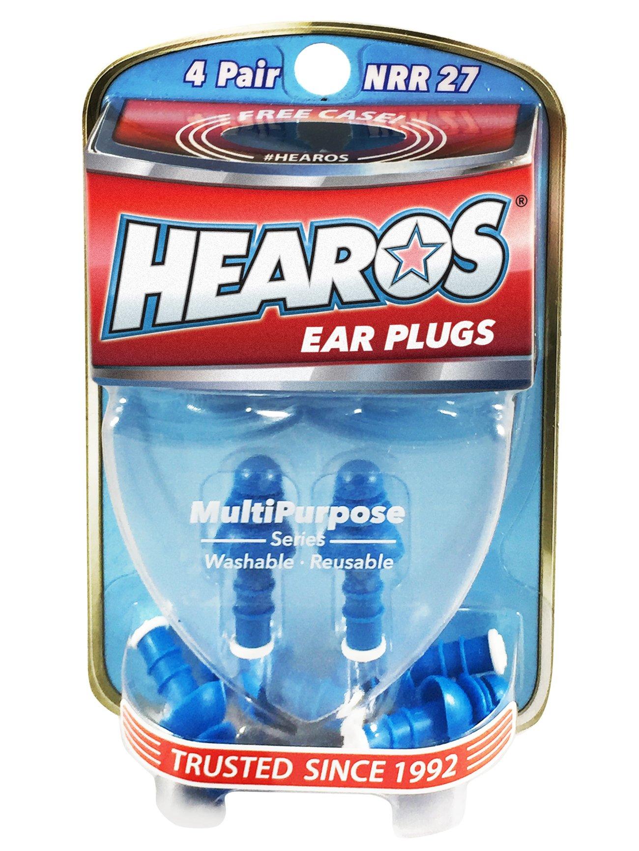 HEAROS Multi-Purpose Reusable Ear Plugs, 4 Pair, Free Case by Hearos