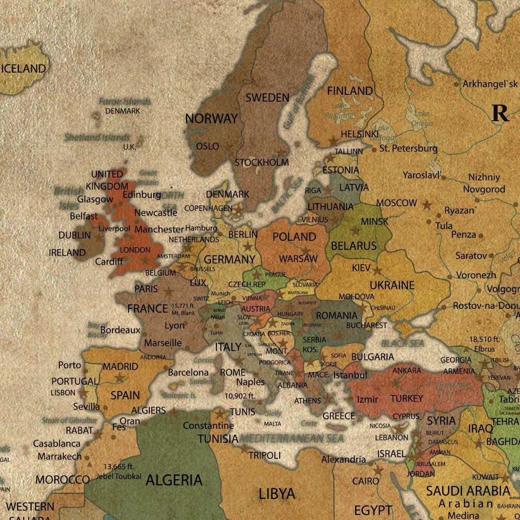 Antique Vintage World Map Large Wall Art, Push Pin Travel Map of World, Vintage Map, Push Pin Map, Push Pin World Map, World Map Canvas Wall Art