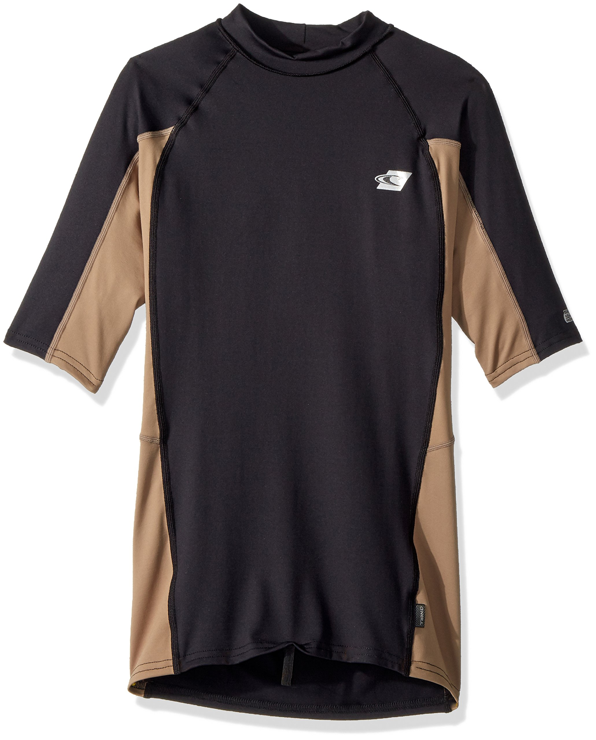 O'NEILL Men's Premium Skins UPF 50+ Short Sleeve Rash Guard, Black/Khaki, X-Large by O'NEILL
