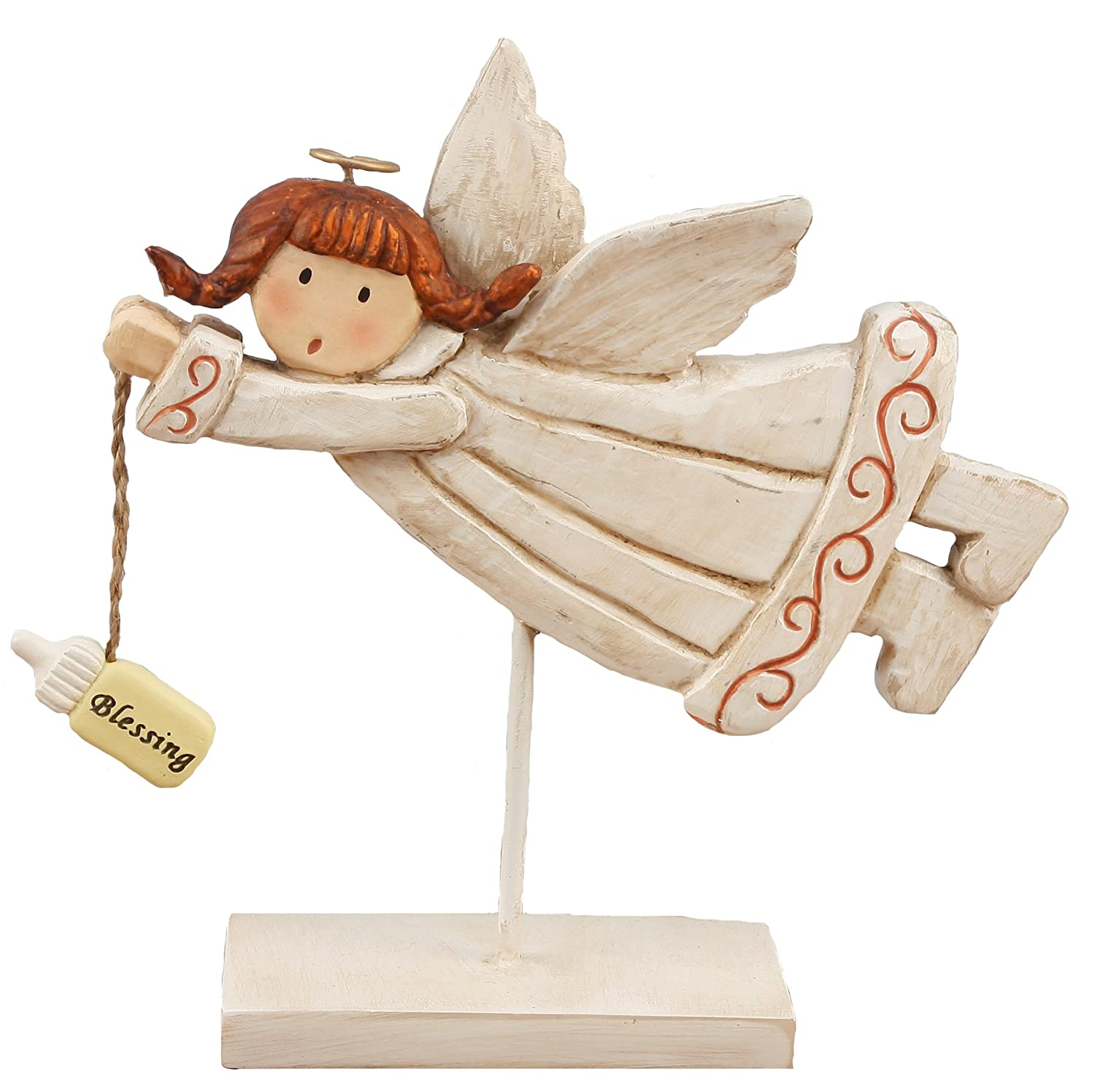 Youngs Resin Angel Holding Baby Bottle Figurine 7.25-Inch