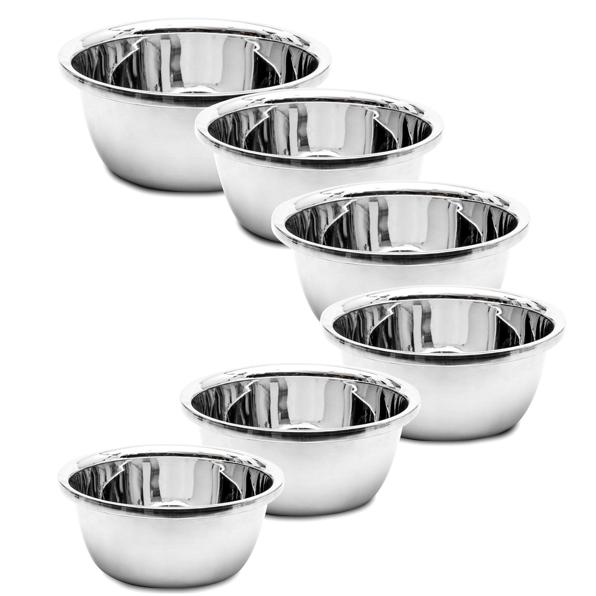 6 Piece Set Stainless Steel Flat Base Mixing Bowls - Hand of the Chef (6Pcs 1.16-1.7 - 2.22-2.9 - 3.7-4.2) Quart Polished Mirror Finish Easy Grip for Whisking Mixing Beating Nesting Stackable by Hand Of The Chef
