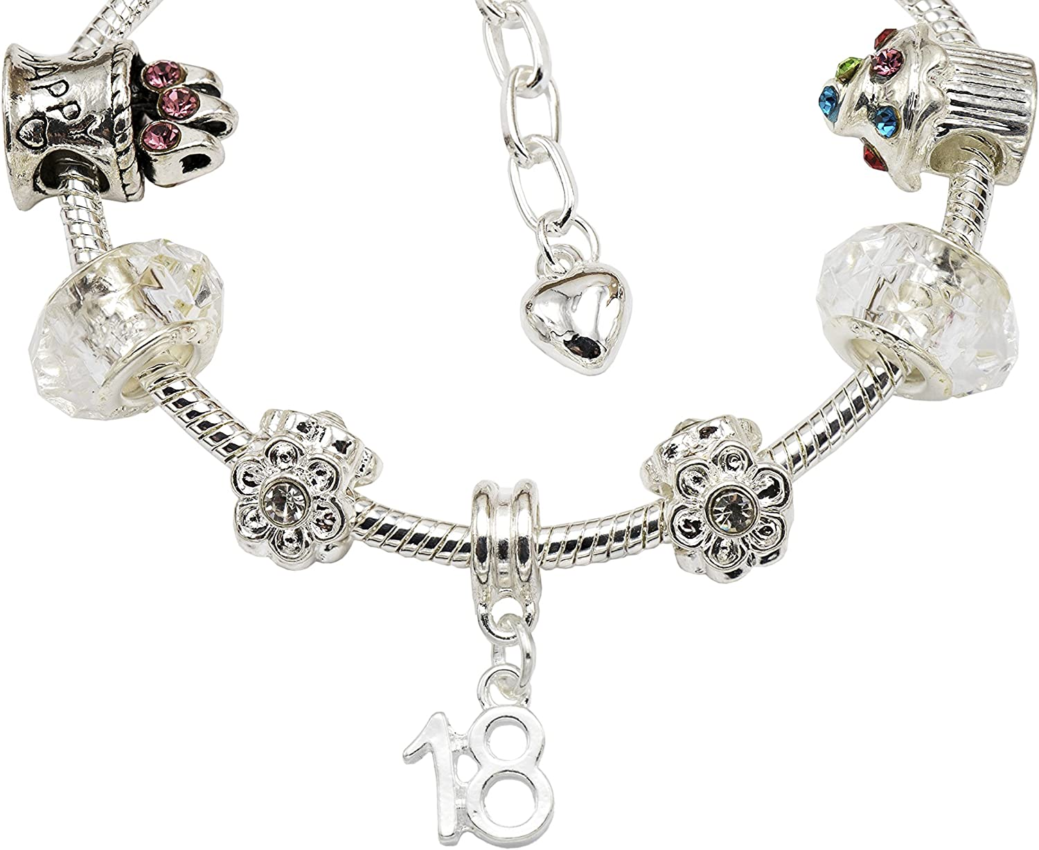 Womens Silver Plated Birthday Charm Bracelet with Gift Box 55th 25th 18th 40th 35th 15th 50th 16th 45th 21st 13th 70th /& 80th 60th 30th 20th Ages Available 12th