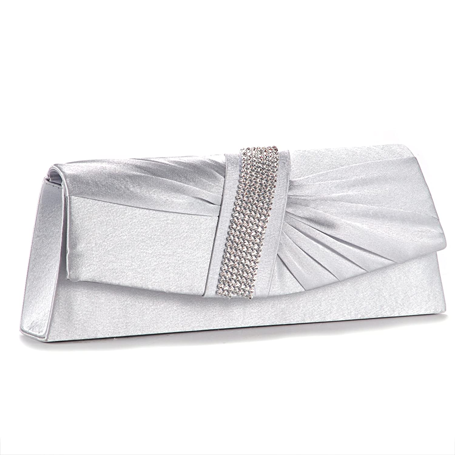 Satin Diamante Pleated Clutch Evening Bag Wedding Prom Party ...