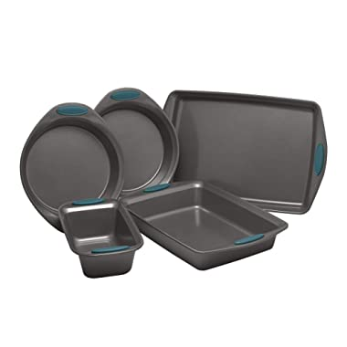 Rachael Ray Yum-o! Nonstick Oven Lovin' Bakeware Set, Gray with Marine Blue Handles. 5-Piece Set