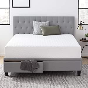 Everlane Home Windsor Upholstered Bed with Built-in Drawers - Ash - King & Everlane Home 10 Inch Gel Infused Memory Foam Mattress - King