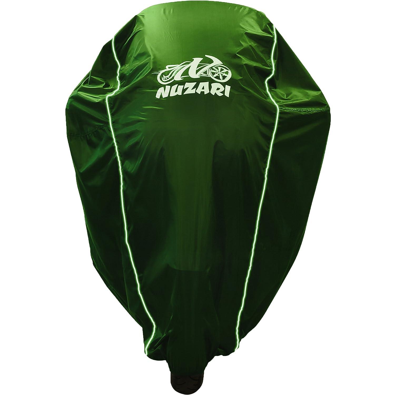 Hunter Green, Medium Universal Heat Resistant Lockable Fabric Premium Heavy Duty Outdoor Waterproof All Season Polyester W//soft Screen Shield Breathable Motorcycle Cover W//elastic Bottom