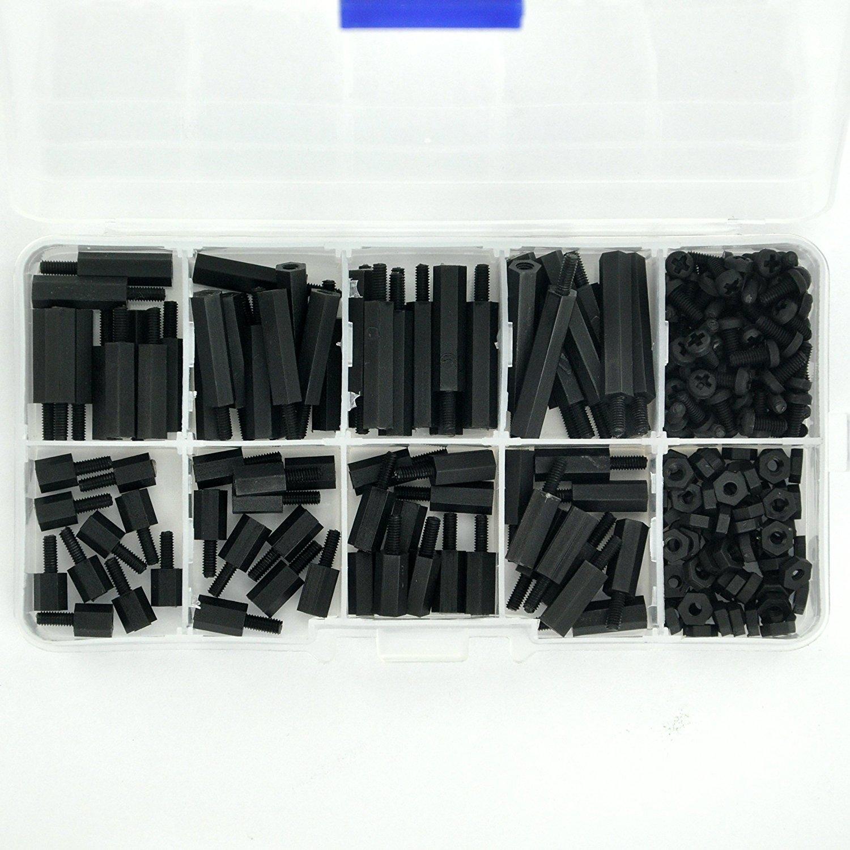 Electronics Salon M25 Black Nylon Hex M F Spacer Screw Nut Assorted 120pcs M3 Copper Silver Brass Pillars Standoff Circuit Board Pcb Kit For Raspberry Pi Diy Tools