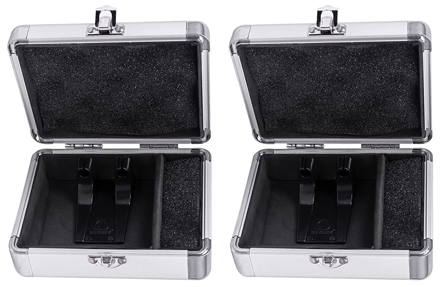 2) Odyssey KCC2PR2SL KROM PRO2 2x Turntable Needle Cartridge Travel Cases SIlver (2) KCC2PR2SL