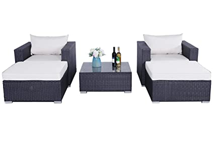 Do4U Patio Loveseats 5pcs Set Outdoor Furniture Sectional All-Weather Wicker Rattan Sofa Love Seat