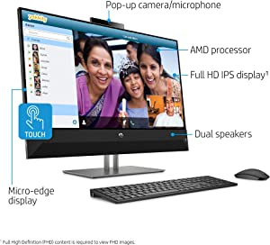 HP Pavilion Premium 27-inch Full HD BrightView Touch Display All-in-One Computer, AMD Ryzen 5-2600H, 1TB HDD, 8GB RAM, AMD Radeon Vega 8 Graphics, Wireless Keyboard + Mouse, Webcam, Windows 10 Home