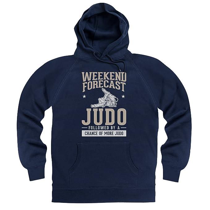 Weekend Forecast Judo Sudadera con Capucha Funny Novelty Gift, para Hombre, Azul Marino,