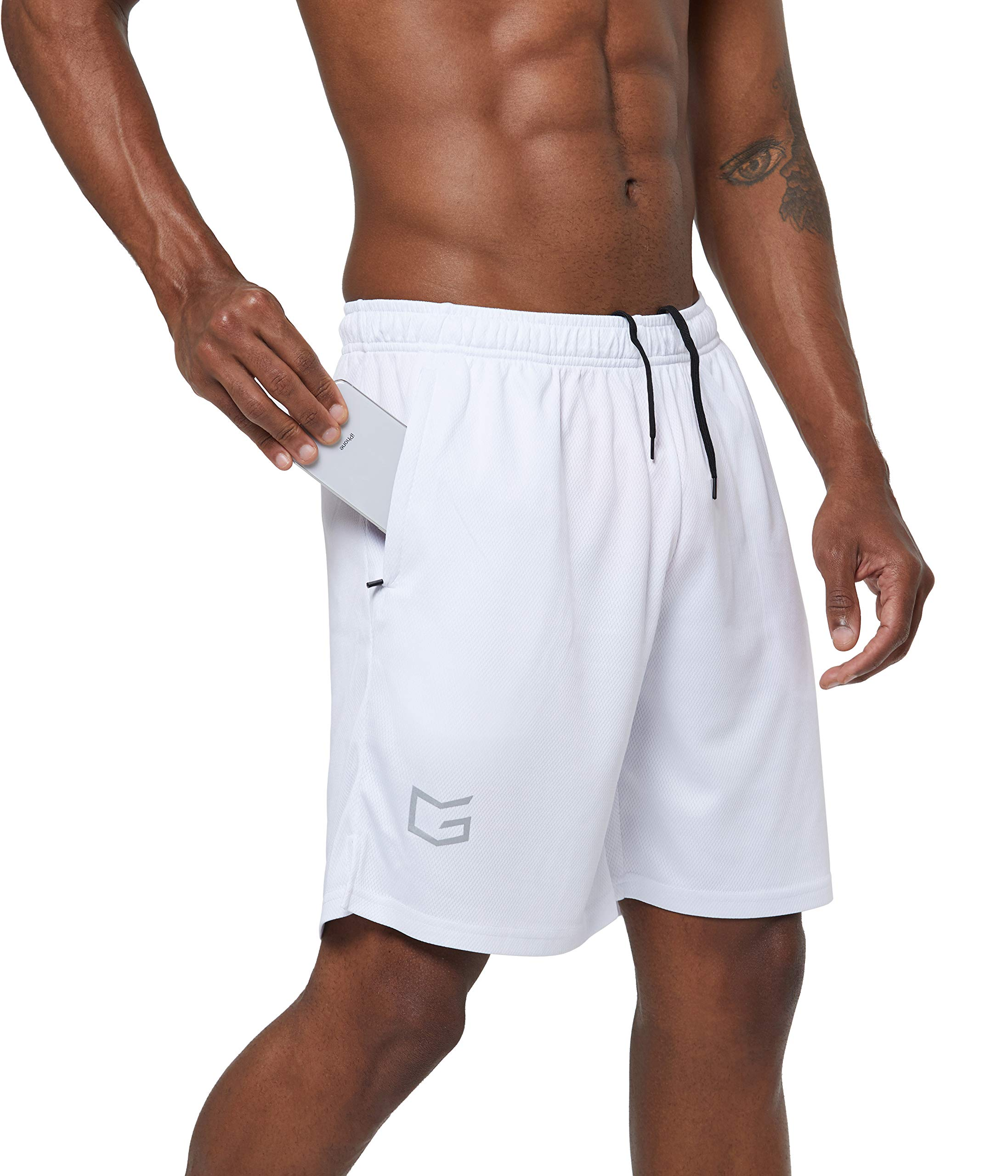 G Gradual Men's 7'' Workout Running Shorts Quick Dry Lightweight Gym Shorts with Zip Pockets (White, XX-Large) by G Gradual