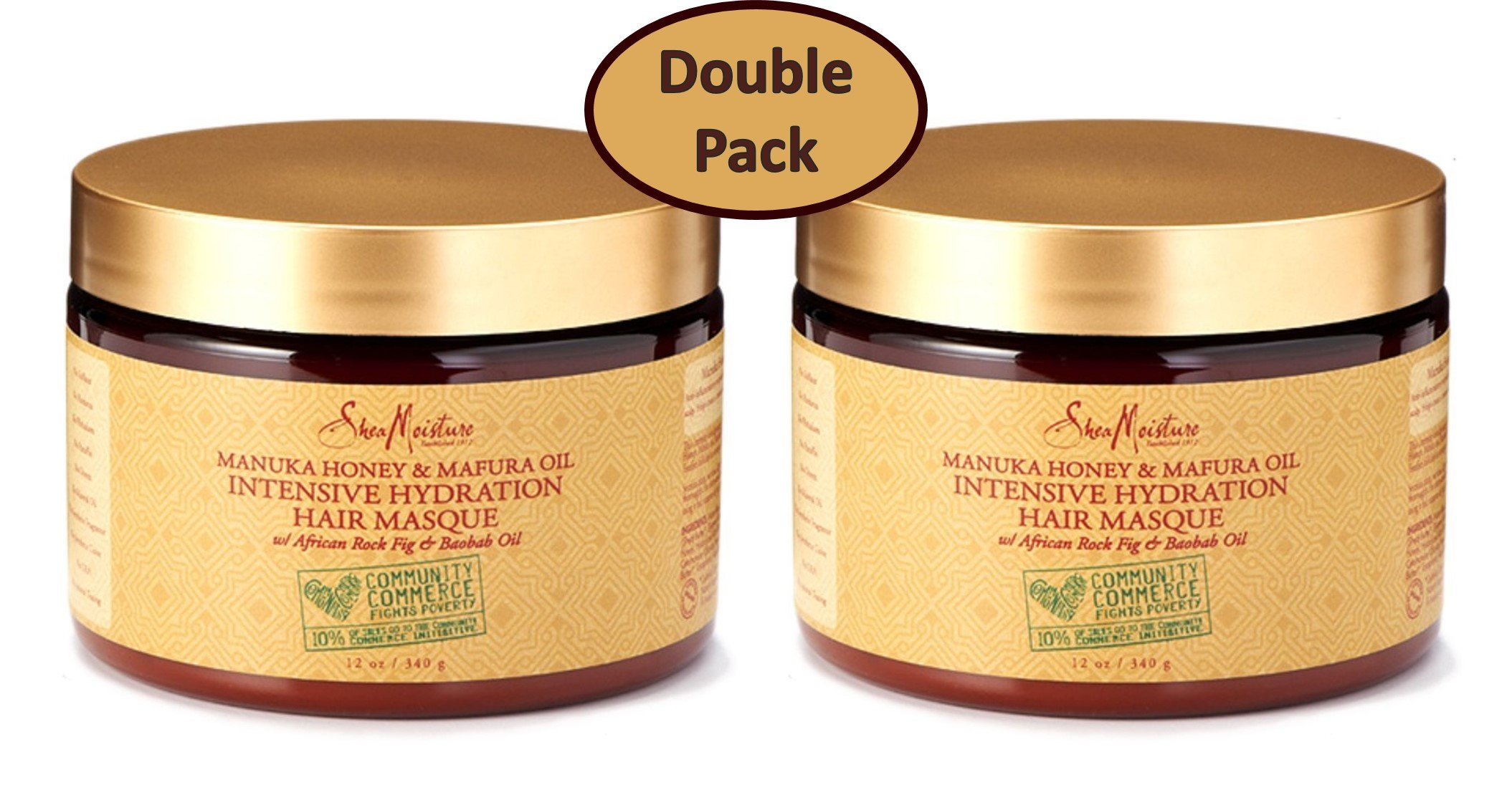 Shea Moisture Manuka Honey & Mafura Oil Intensive Hydration Hair Masque, with African Rock Fig & Baobab Oil, 12 Ounce - Value Double Pack - Qty of 2 each by Shea Moisture