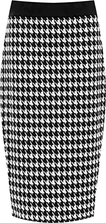 4aa14cc6d2 WearAll Plus Size Womens Dogtooth Check Back Slit Pencil Skirt Ladies  Stretch Sizes 12-26: Amazon.co.uk: Clothing