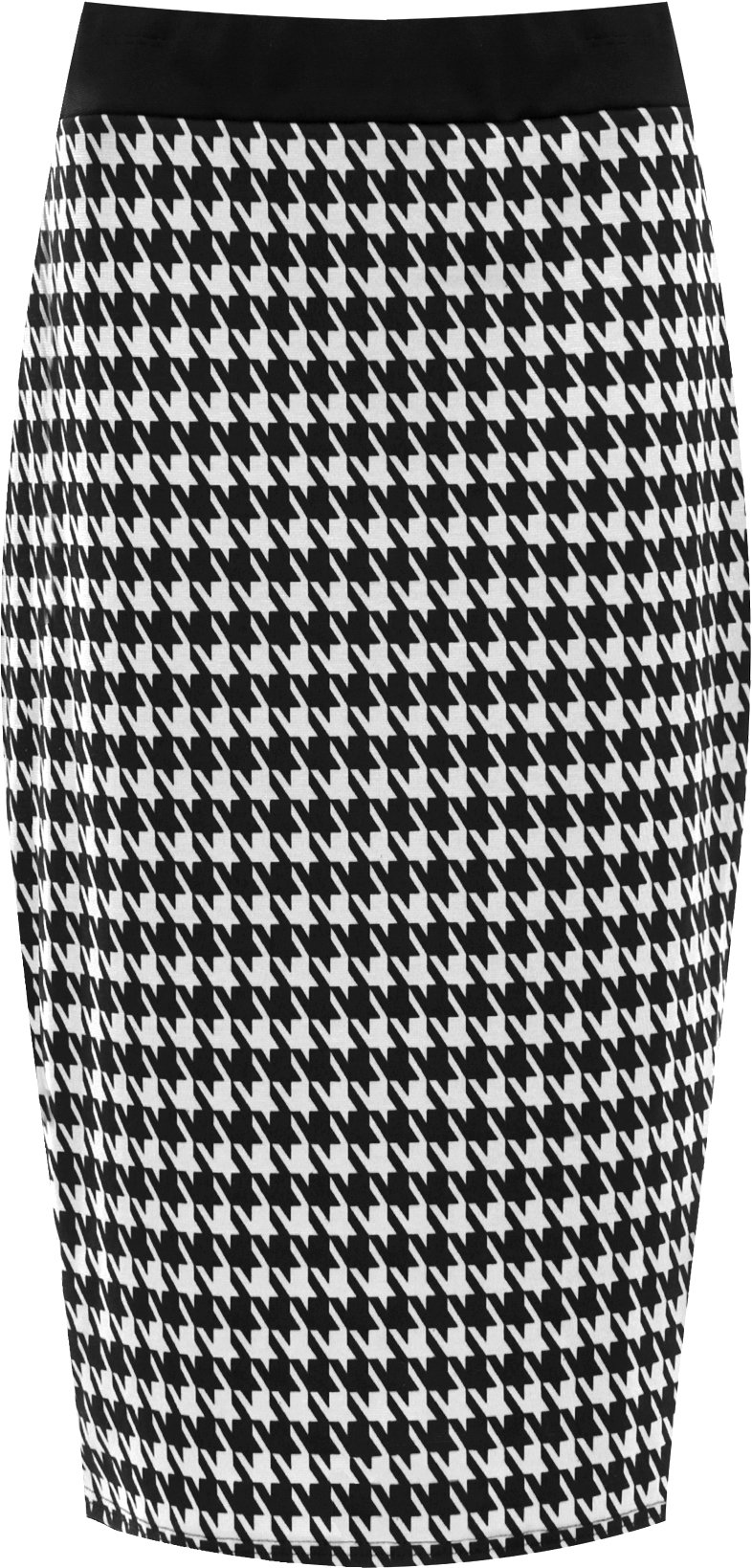 WearAll Women's Dogtooth Check Back Slit Pencil Ladies Stretch Skirt - Black - US 12-14 (UK 16-18)