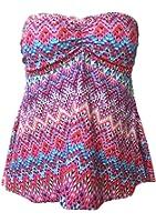 JadeRich Women's Plus Size Fashion Printing Strapless 2-Pieces Tankini Sets