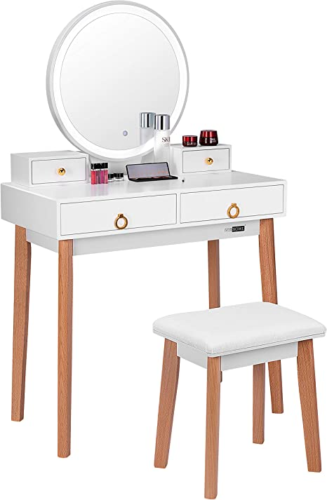 Vivohome Vanity Set With 3 Color Touch Screen Dimmable Lighted Metal Mirror Makeup Table With Drawers Padded Stool White Kitchen Dining