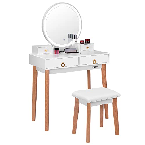 VIVOHOME Vanity Set with 3-Color Touch Screen Dimmable Lighted Mirror, Makeup Table with Drawers, Padded Stool, White