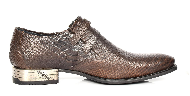 Männer Schlangenleder-Print-Leder Halbschuhe New Rock Smart Beiläufig A12246S32 Spitzschuh Schuhe Braun - A12246S32 Beiläufig - e0fdb4