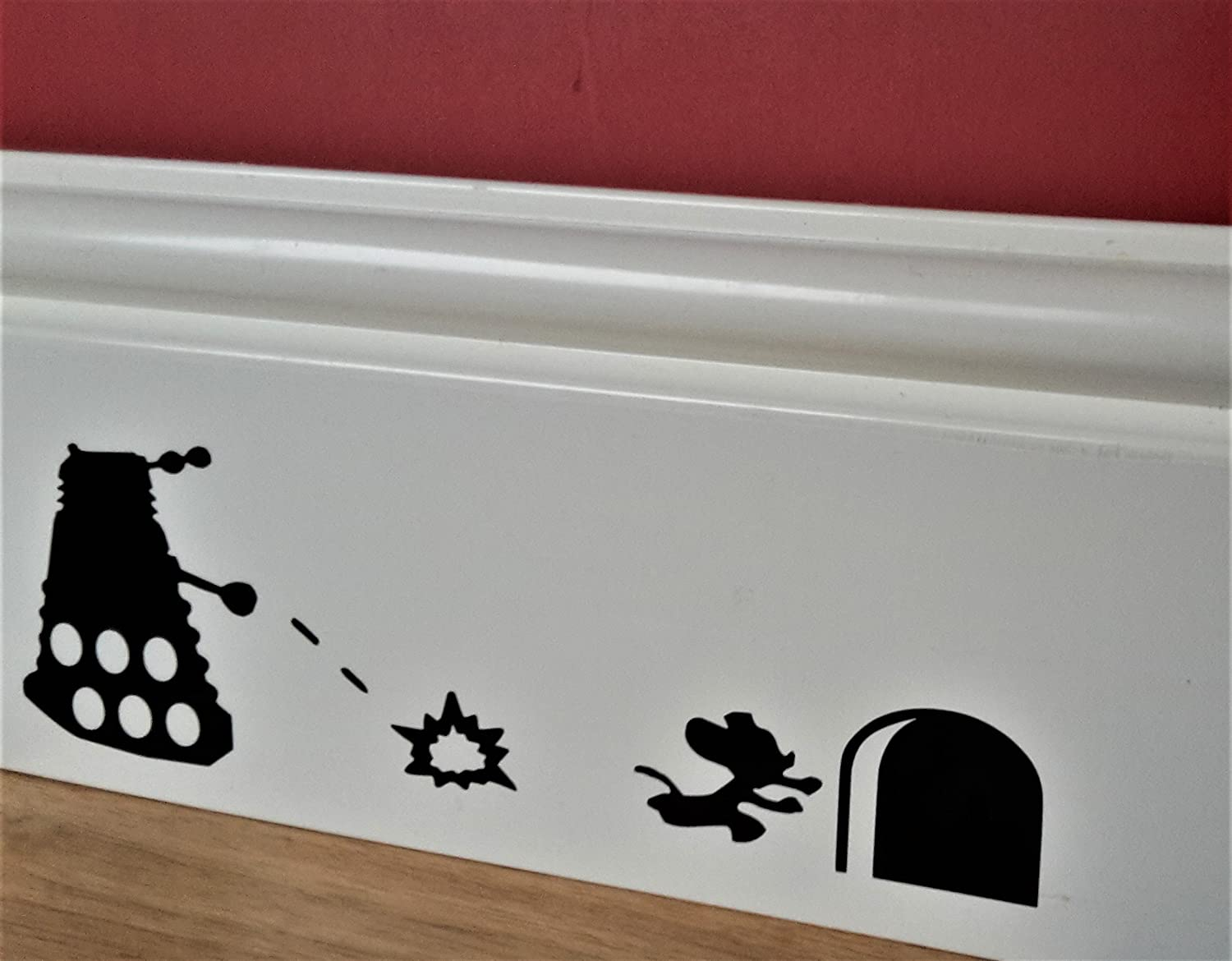 Doctor Who ' Mouse and Dalek ' Skirting Board Vinyl Decal Sticker Wall Art Vinyl Decal ..UKSELLINGSUPPLIERS®
