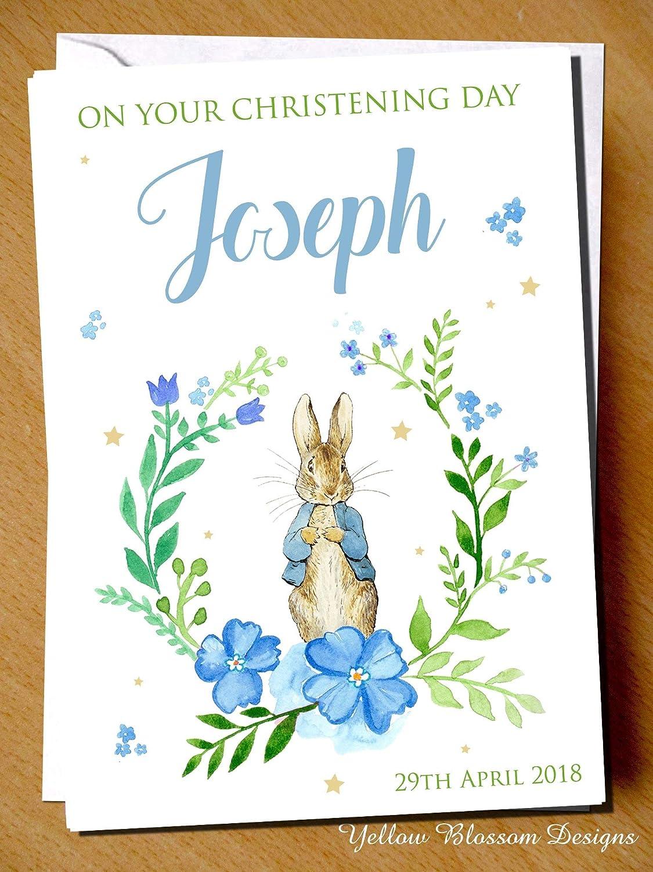 Personalised Handmade Christening Baptism Naming Day Card Girls Boys